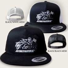 Load image into Gallery viewer, bomonster trucker hat with flat track racer design
