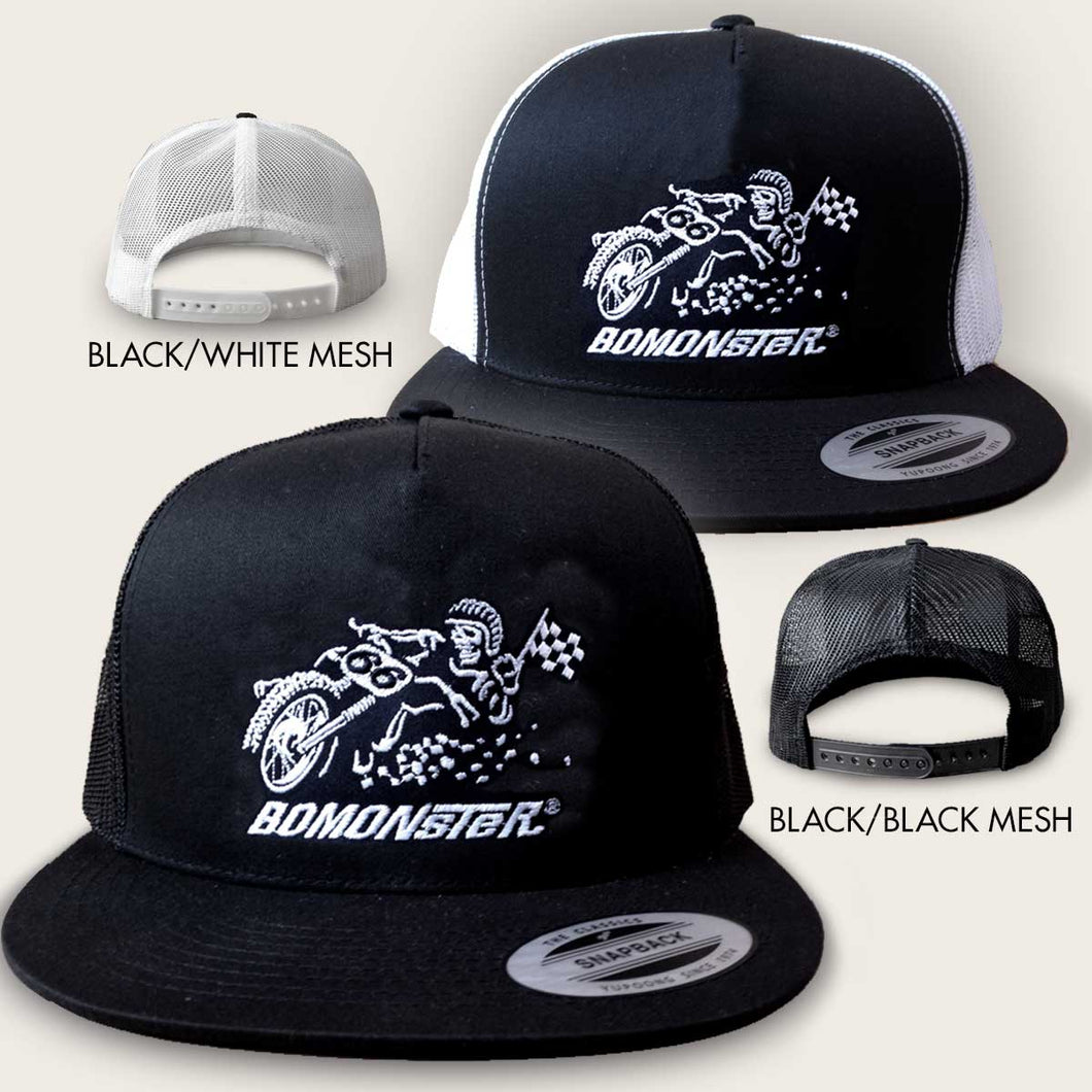bomonster trucker hat with flat track racer design