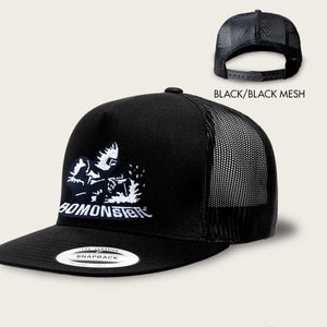 bomonster trucker hat with a vintage stick welder design