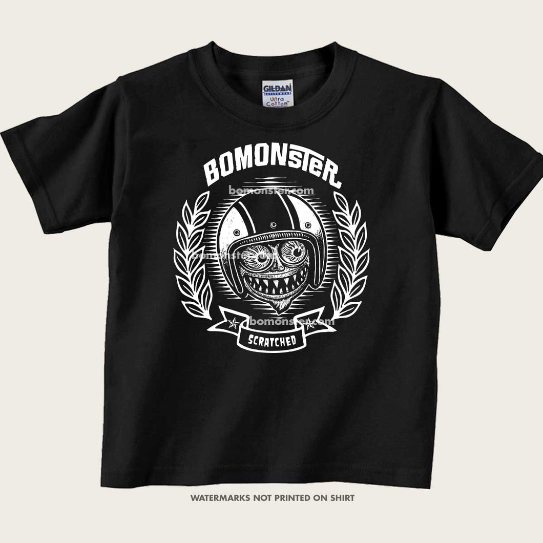 kid's tee with bomonster's smiling avatar monster
