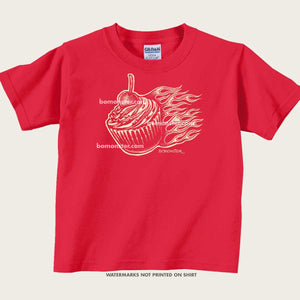 kid's tee of cupcake with hot rod flames