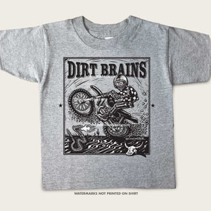 kid's tee of monster dirt bike rider riding a wheelie in desert