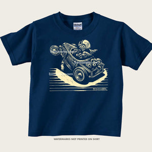 kids tee with driver and teddy bear letting go of the wheel