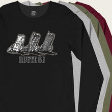 Load image into Gallery viewer, buried cadillacs at cadillac ranch longsleeve by bomonster