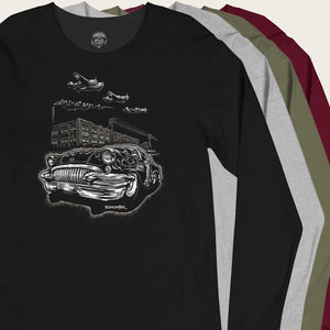 custom 1955 buick in detroit motor city long sleeve by bomonster