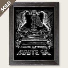 Load image into Gallery viewer, bomonster route 66 art of 59 cadillac and bb king guitar lucille