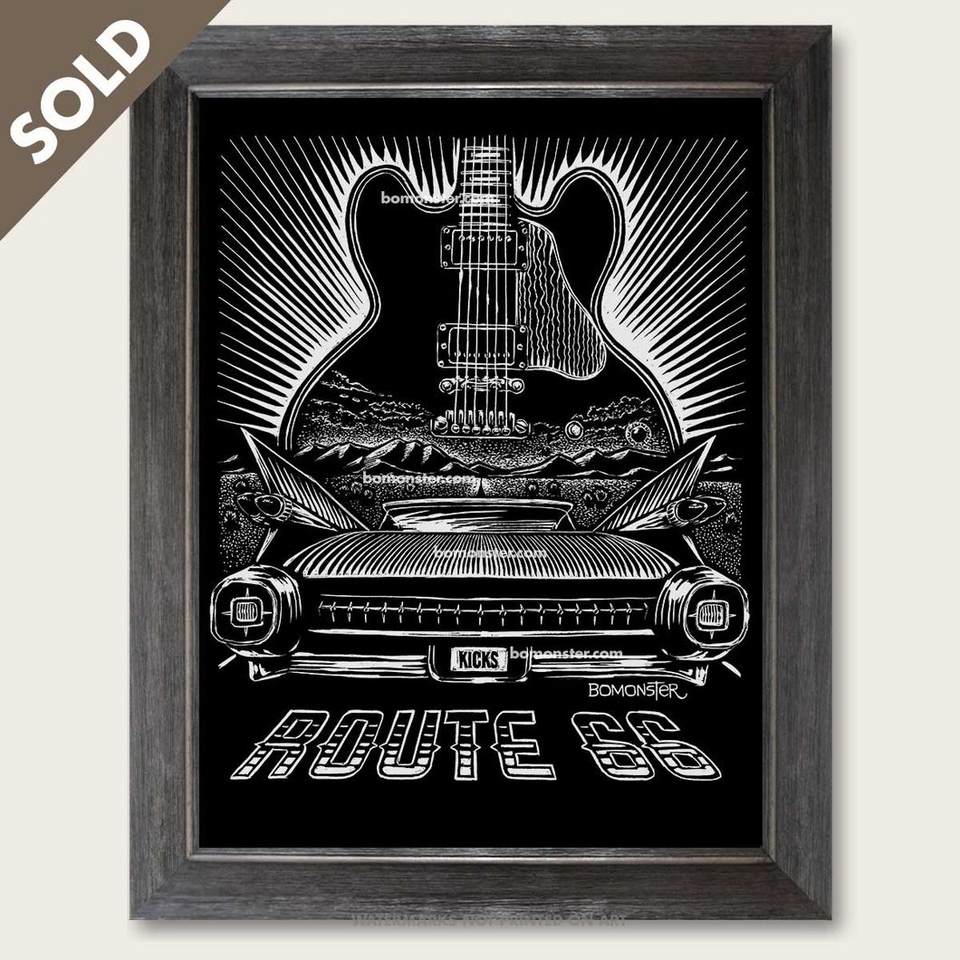 bomonster route 66 art of 59 cadillac and bb king guitar lucille