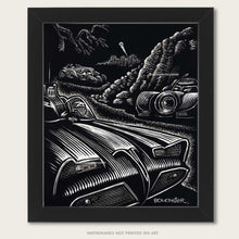 Load image into Gallery viewer, Origina art of three different Batmobiles hidden above Gotham City by BOMONSTER