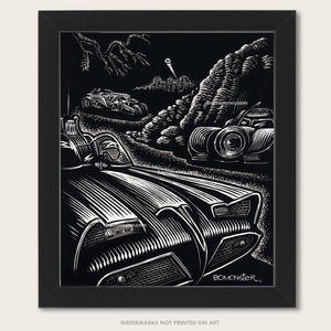 Origina art of three different Batmobiles hidden above Gotham City by BOMONSTER