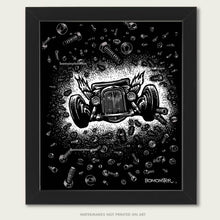 Load image into Gallery viewer, flying hot rod in space art by bomonster