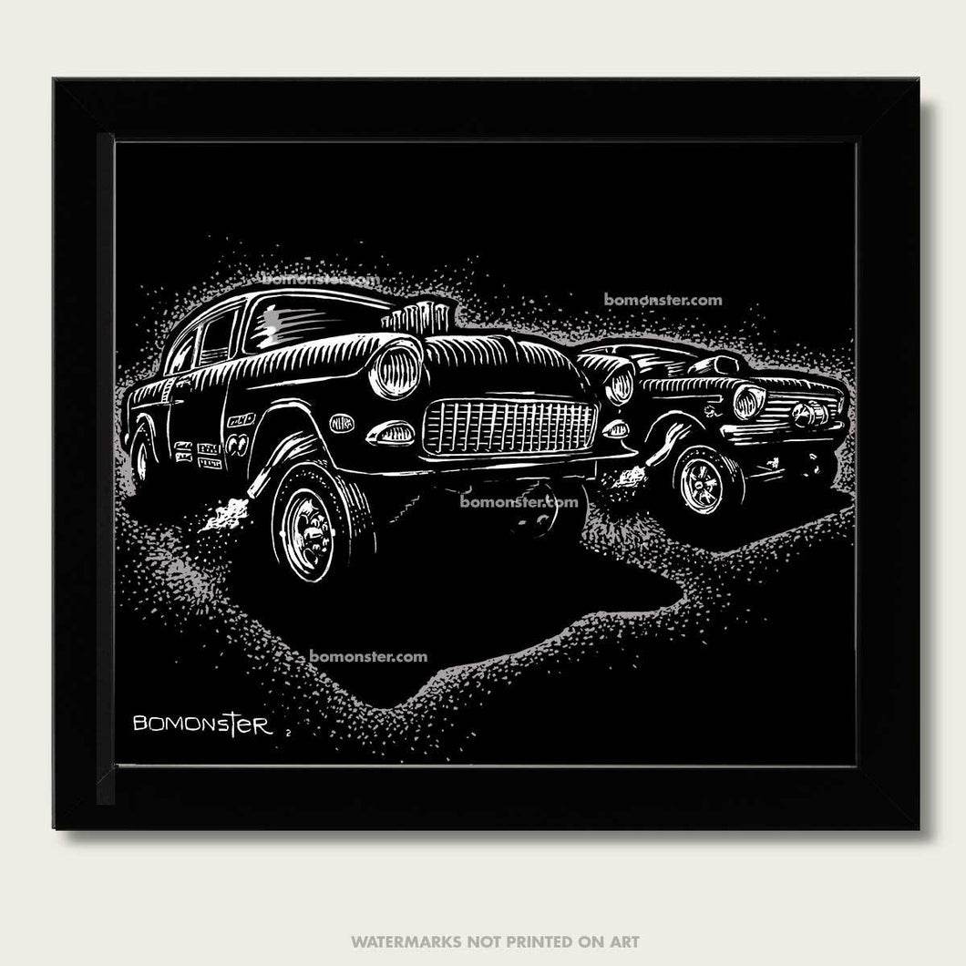 1955 chevy gasser goes up against a 65 chevy II nova art by bomonster