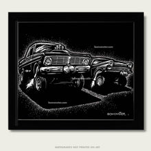 Load image into Gallery viewer, two ford gassers at drag races art by bomonster