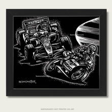 Load image into Gallery viewer, valentino rossi and ferrari f1 car at speed art by bomonster