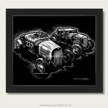 Load image into Gallery viewer, two hot rods race each other art by bomonster