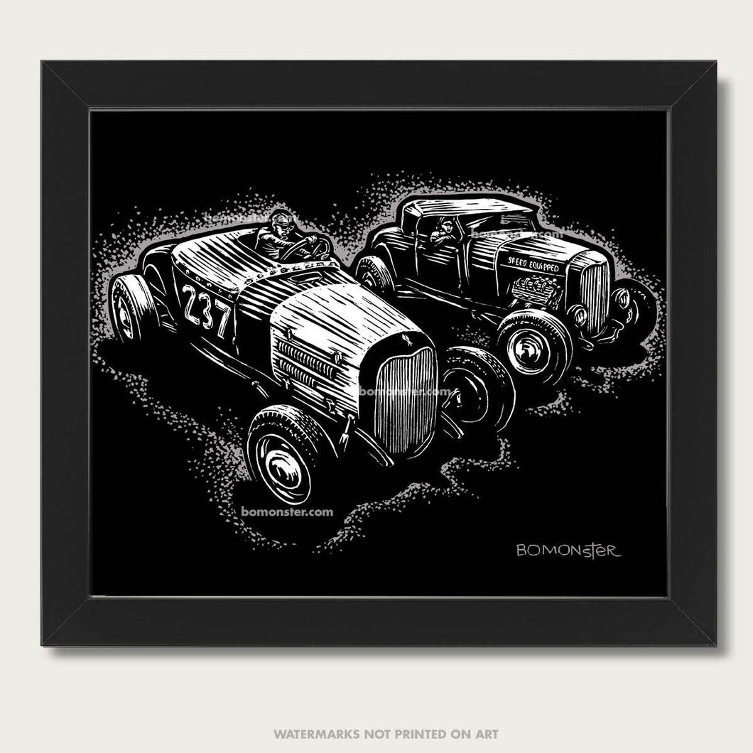 two hot rods race each other art by bomonster