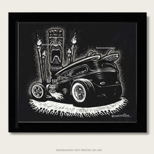 Load image into Gallery viewer, rat rod with tiki head and tiki torches original art by bomonster
