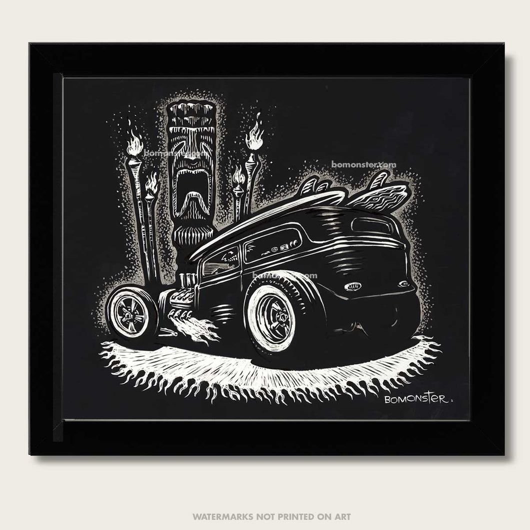 rat rod with tiki head and tiki torches original art by bomonster