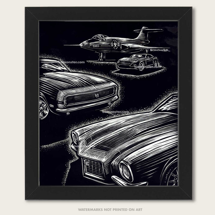 Camaros and an f-101 voodooo fighter plane in this original art by bomonster