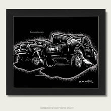Load image into Gallery viewer, '41 willys gasser against a henry j gasser art by bomonster
