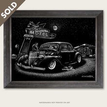 Load image into Gallery viewer, bomonster art of custom 1936 ford and route 66 blue swallow hotel