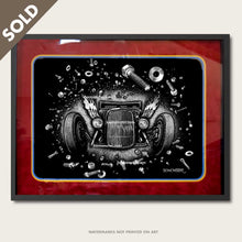 Load image into Gallery viewer, bomonster hot rod art of model a coupe in space junk of nuts and bolts