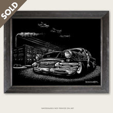 Load image into Gallery viewer, bomonster art of custom buick and detroit skyline