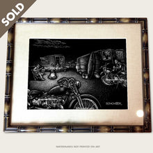 Load image into Gallery viewer, bomonster surf art of friends with vintage trailer and motorcycles hang out at beach