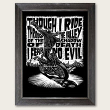 Load image into Gallery viewer, bomonster chopper art of rider standing on harley chopper at speed