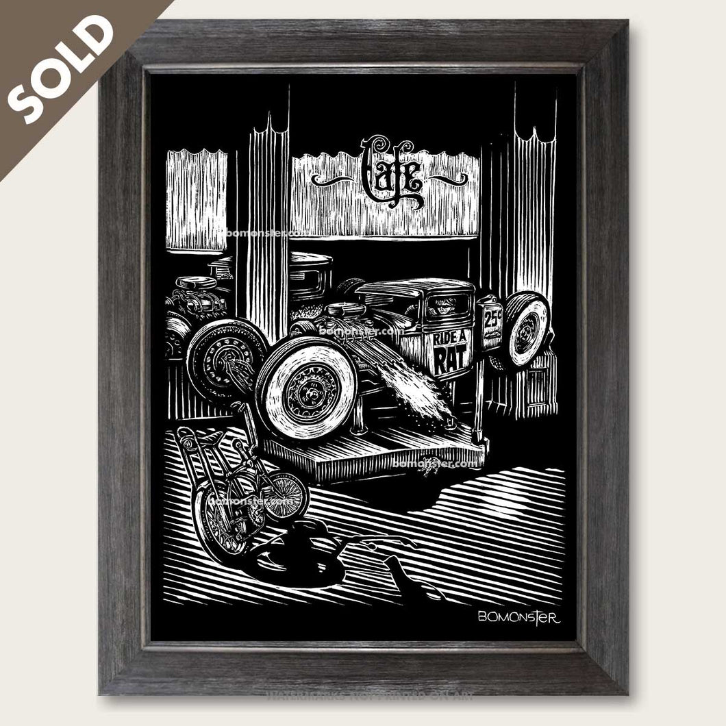 bomonster rat rod art of boy in coin operated rat rod