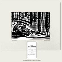 Load image into Gallery viewer, 356 porsche in italian cypress trees art by bomonster