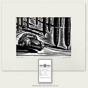 356 porsche in italian cypress trees art by bomonster