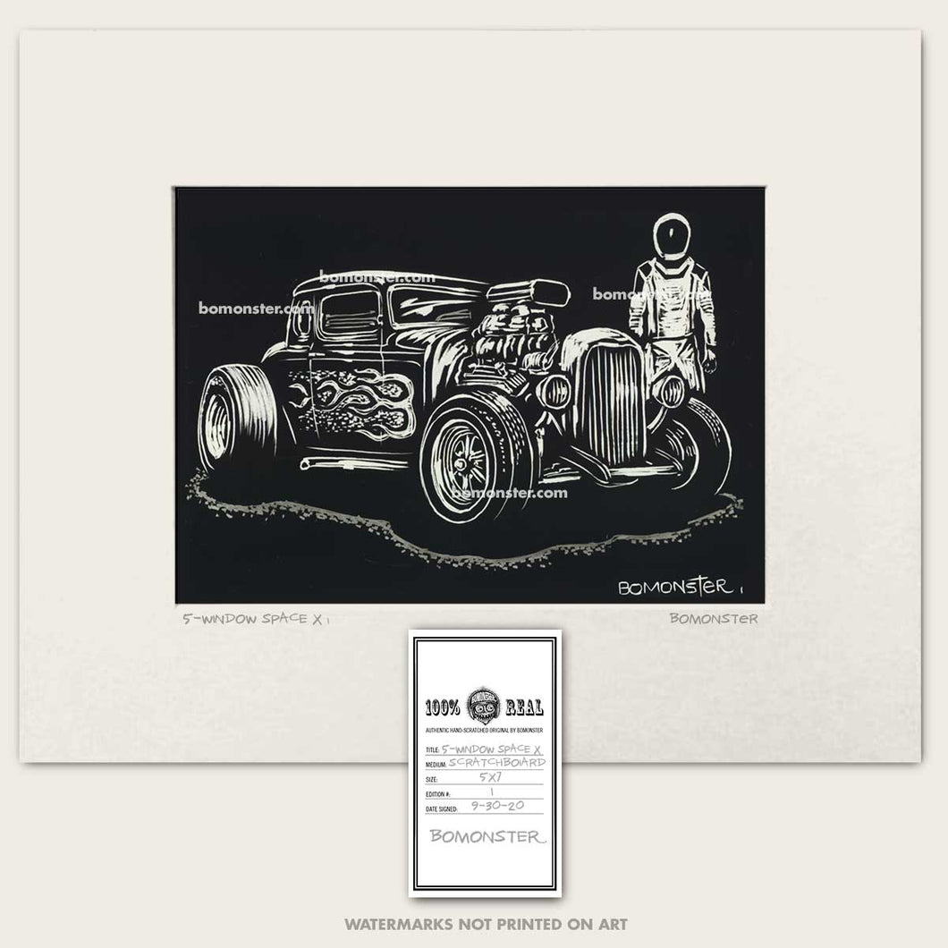 ford 5-window hot rod with space x man art by bomonster