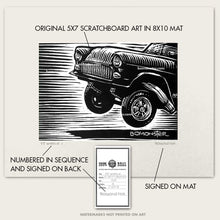 "Load image into Gallery viewer, Original Drag Racing Art ""55 Wheelie #4"" Chevy Gasser"