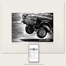 Load image into Gallery viewer, 55 chevy gasser art in a wheelie by bomonster