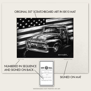 "Original Ford Truck Art ""56 Flag #1"""