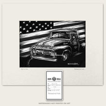 Load image into Gallery viewer, Original art of 1956 Ford F-100 and American flag