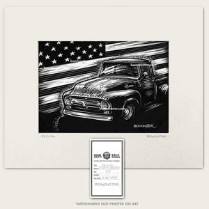 Original art of 1956 Ford F-100 and American flag
