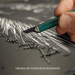 bomonster art is hand scratched