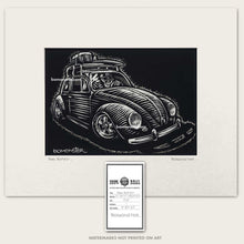 Load image into Gallery viewer, vw bug skull driver with surfboard on top art by bomonster