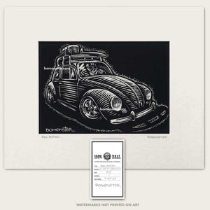 vw bug skull driver with surfboard on top art by bomonster