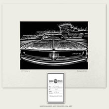 Load image into Gallery viewer, original dodge charger in front of daytona speedway art by bomonster