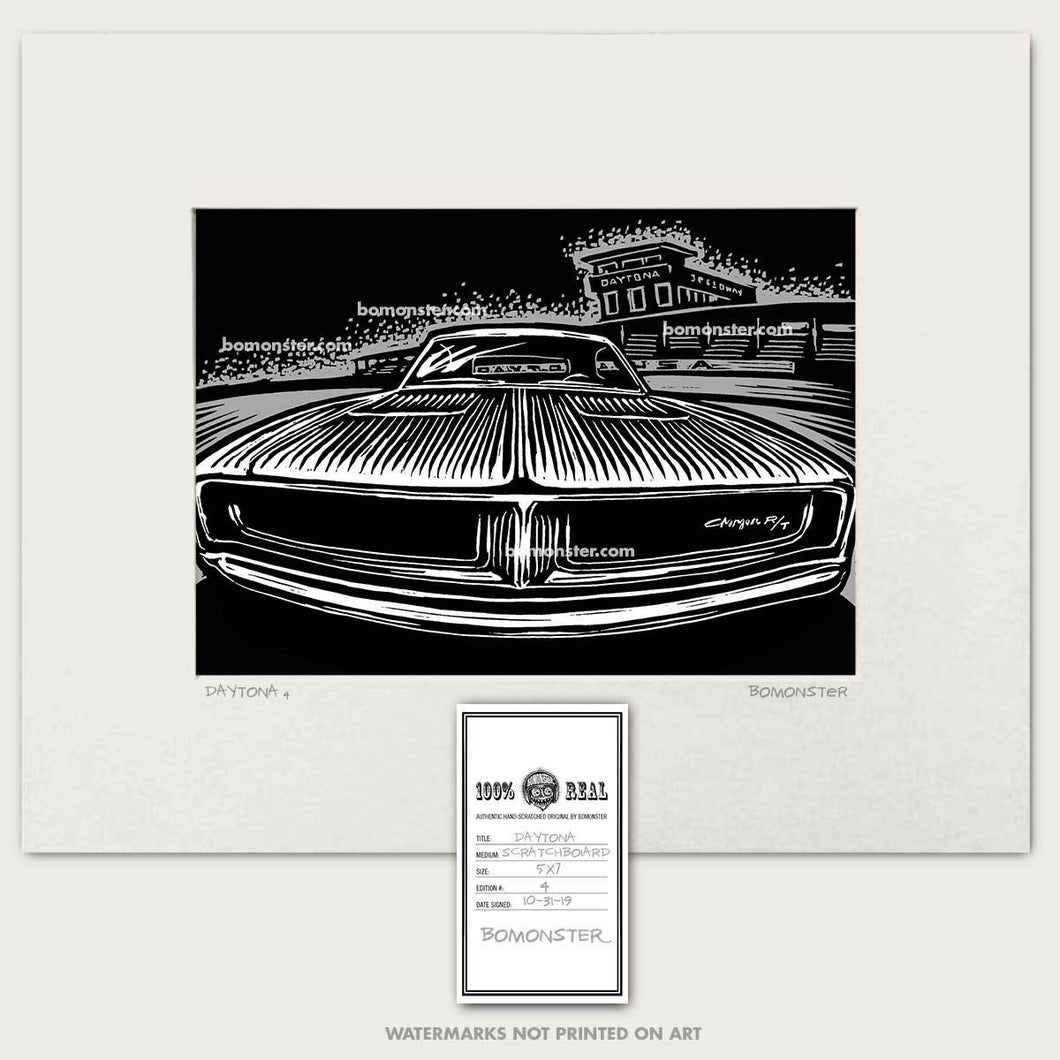 original dodge charger in front of daytona speedway art by bomonster