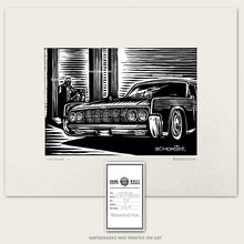 Load image into Gallery viewer, lincoln continental scratchboard art by bomonster in front of lincoln memorial