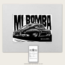 Load image into Gallery viewer, 49 chevy fastback art by bomonster with words mi bomba