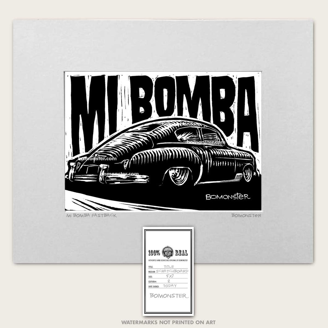 49 chevy fastback art by bomonster with words mi bomba