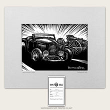 Load image into Gallery viewer, 32 ford hot rod art with old buckboard wagon by bomonster