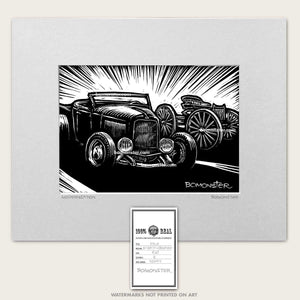 32 ford hot rod art with old buckboard wagon by bomonster