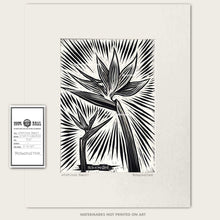 Load image into Gallery viewer, original bomonster scratchboard art of two birds of paradise flowers