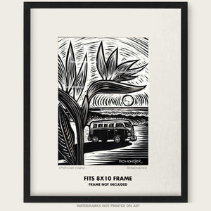 "Original VW Bus Art ""Paradise Found #1"""