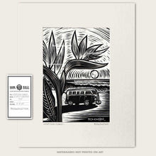Load image into Gallery viewer, 1960s vw bus in front of ocean waves with birds of paradise original art by bomonster